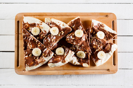 Dessert or breakfast pizza with nutella 스톡 콘텐츠