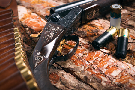 Hunting equipment on old wooden background Stock Photo