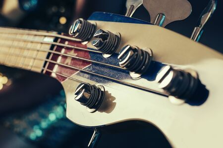 Close up of electric bass guitar element Stock Photo