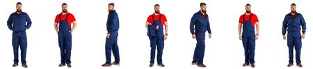 Set of Workman over isolated white background