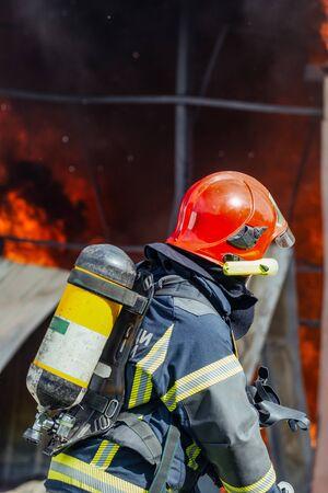 Les pompiers pulvérisent de l'eau sur un feu de forêt.