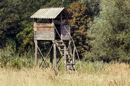 Hunting tower between meadow and forest. Standard-Bild