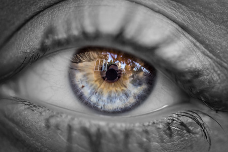 Black and white picture with colorful eye close up. Macro image of human eye