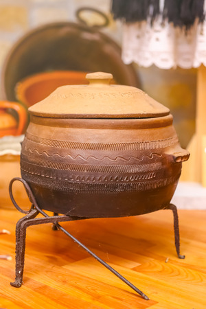 Pot for cooking meals on fire, made of clay. Traditional pot made of clay