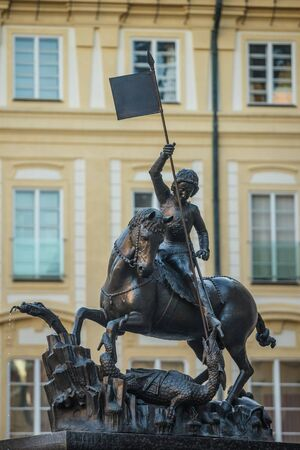 St. George statue near St. Vitus cathedral in Prague 写真素材