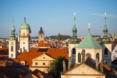 Cityscape of Prague, roofs of old town center. Stok Fotoğraf