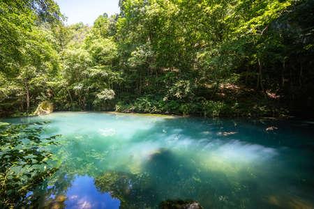 Krupajsko Vrelo (The Krupaj Springs) in Serbia, beautiful water spring with waterfalls and caves. Healing light blue water.