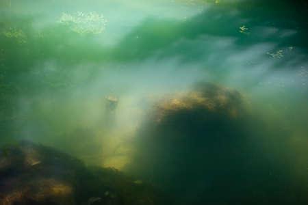 Krupajsko Vrelo (The Krupaj Springs) in Serbia, water spring with waterfalls and caves. Healing light blue water. 版權商用圖片