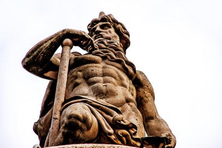 Statue Danubius fountain on the Danube in Budapest Stock Photo