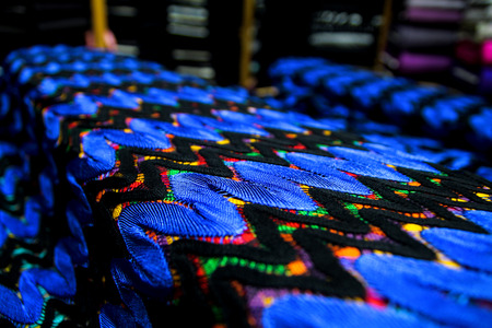 Fabric texture textile colorful canvas blue and black colors Stock Photo