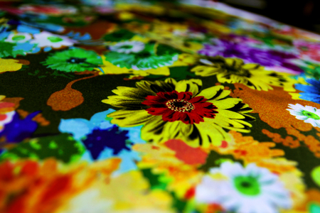 sipario chiuso: Texture textile colorful canvas material silk with floral motifs