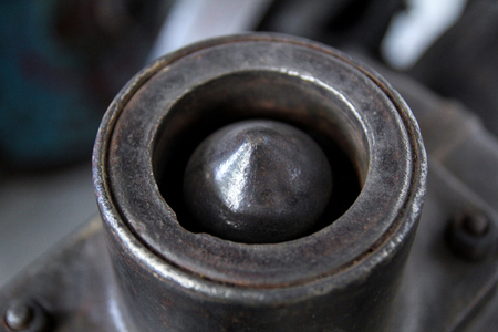 The metal part of the old machine, close-up Stock Photo