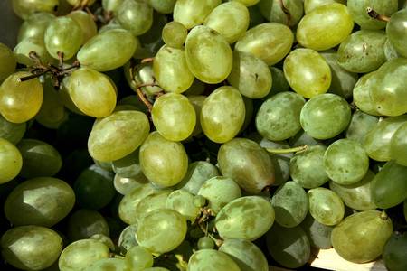 Organic fresh white grapes on city green market Stock Photo