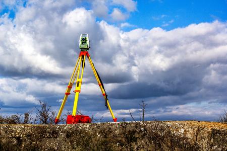 Survey Instrument Geodetic Device, Totaal Station Stockfoto - 79665062