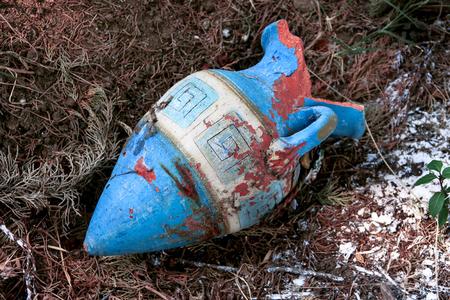 antique vase: Old antique rustic ceramic vase, close up