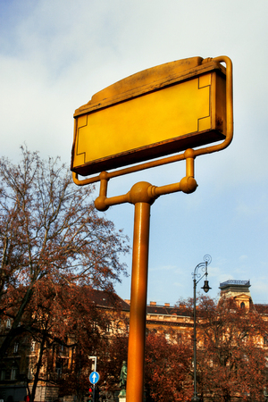 stating: Street signs in Budapest, Hungary