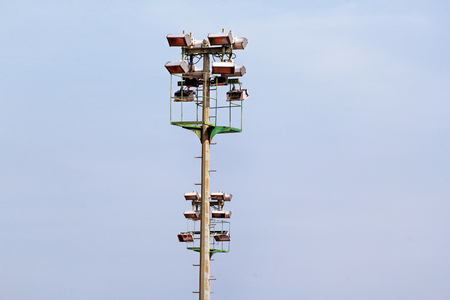 Stadium Floodlight Tower With Reflectors With Blue Sky. Lighting ...