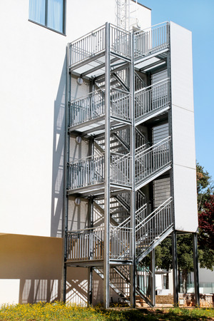 Metal Fire Escape Outside Ladder On Modern Apartment Building For Emergency  Fire Escape Outside Apartment Building For Emergency