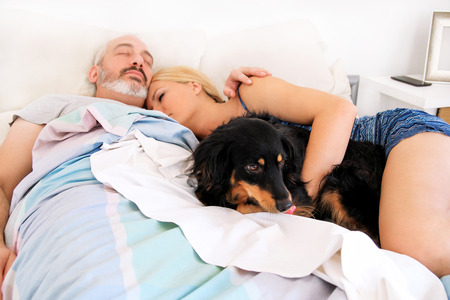 Handsome couple in bed sleeps together in association with their dog. A mixed breed dogs enjoys and resting in the bedroom with their owners. People with pets at home, house. Lovely dog, pet concept.