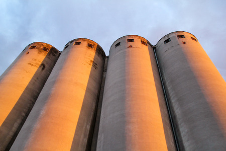 Grain terminal storage old silos, very rustic  Agricultural Silos in Belgrade, Serbia. Stock Photo