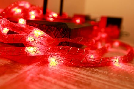 Bright red New Years and Christmas rice lights, shallow depth of field.
