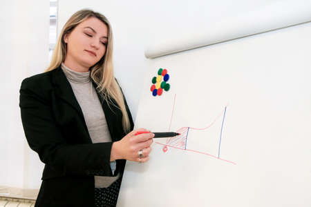 Handsome businesswoman and leader team draws graph on whiteboard, explaining colleagues at meeting in office. Woman drawing chart with figures and making presentation at board in conference room.