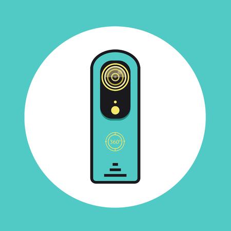 플랫 라인 디자인의 360 비디오 카메라 아이콘.
