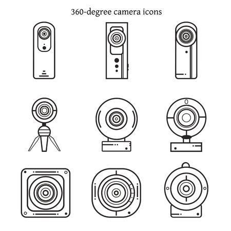 얇은 라인 디자인에서 360도 카메라 아이콘의 집합입니다. 벡터 일러스트 레이 션.
