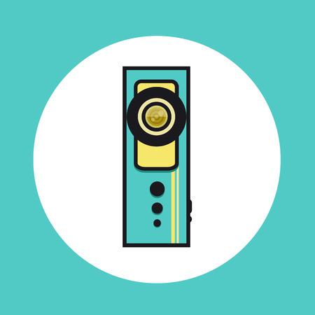 플랫 라인 디자인의 360 비디오 카메라 아이콘. 벡터 일러스트 레이 션.