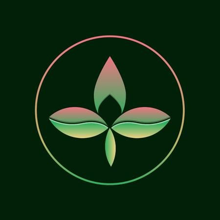 Three leaf gradient logo. Abstract eco logotype concept. vector illustration. Illustration