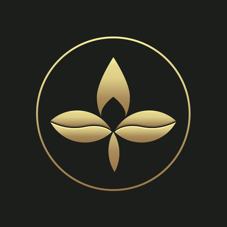 Three leaf gold gradient logotype template.