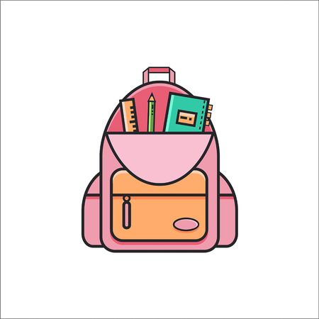 Open school backpack icon with ruler, pencil and copybook.