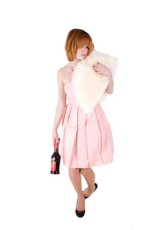 Closeup portrait of a woman with bottle photo