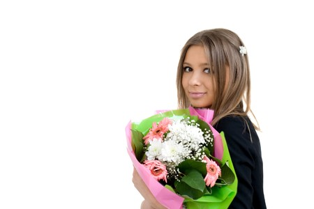 Girl with a bunch of flowers Stock Photo - 6951610