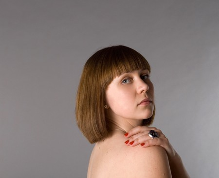 Closeup portrait of a beautiful woman  photo