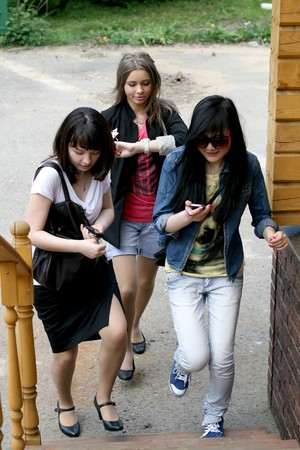 Three female friends rushing Stock Photo - 7037550
