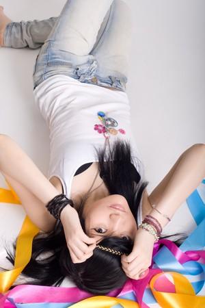 Portrait of a cute japanese hippie Stock Photo - 7031165