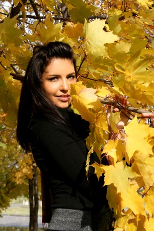 Pretty young woman standing near maple in autumn park  photo
