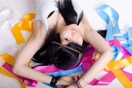 Portrait of a cute japanese hippie Stock Photo - 7074111