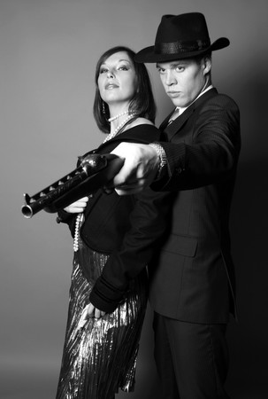 Couple of gangsters Stock Photo