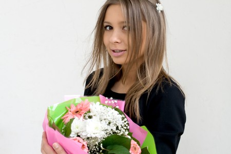 Girl with a bunch of flowers Stock Photo - 7125168