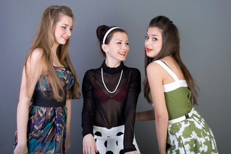 Three happy retro-styled girls Stock Photo - 7160010