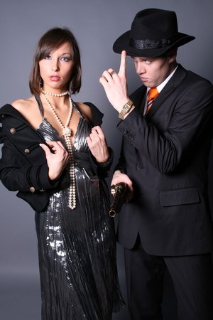 Couple of gangsters Stock Photo - 7122094
