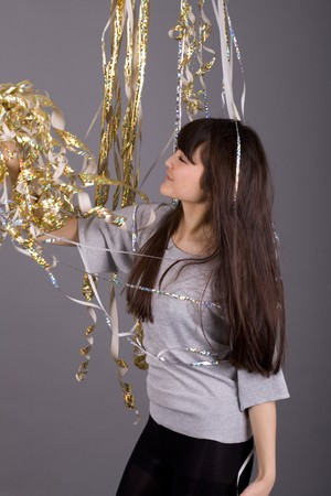 Girl with tinsel photo