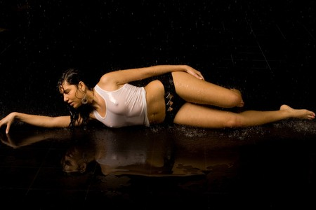 Full length portrait of a sexy woman in water studio  Stock Photo - 7130384