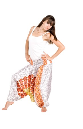 Girl in ethnic clothes studio shot  photo