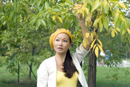 Girl walking in autumn park Stock Photo - 7955430
