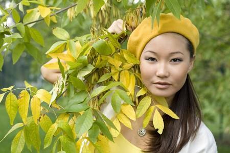 Girl walking in autumn park Stock Photo - 7955436