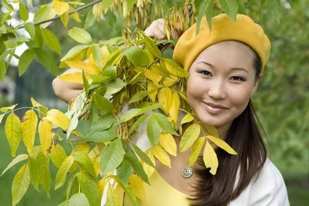 Girl walking in autumn park Stock Photo - 7955437