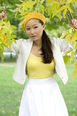 Girl walking in autumn park Stock Photo - 7955416